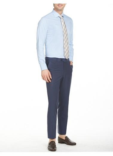 Bisse Regular Fit Düz Italyan Yaka Gömlek Mavi